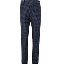 Alexander Mcqueen Slim Fit Polka Dot Cotton Trousers Blue