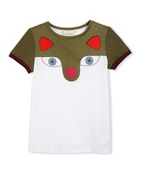 Gucci Short Sleeve Colorblock Fox Tee White Size 6 12 Girl's Size 6