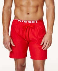 Diesel Men's Bmbx Dolphin E Solid Swim Shorts Red