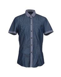 Bikkembergs Denim Denim Shirts Men Blue