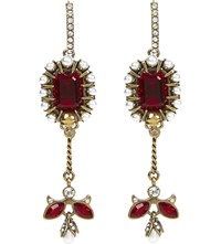 Alexander Mcqueen Jewel Embellished Earrings Gold Red