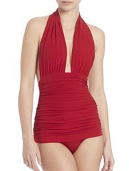 Norma Kamali Ruched Halter Swimsuit Top Red