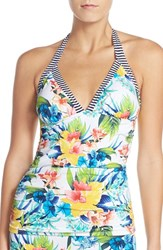 Tommy Bahama Women's Print Halter Tankini Top White Ground Multi