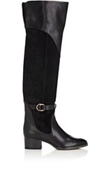Chloe Women's Lenny Leather And Suede Over The Knee Boots Dark Grey
