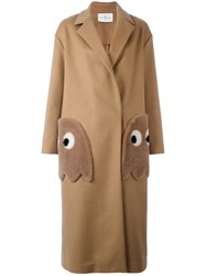 Anya Hindmarch 'Ghosts' Oversized Coat Brown
