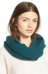 Women's Halogen Pointelle Knit Wool And Cashmere Infinity Scarf Blue Green Teal Deep