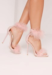 Missguided Double Feather Strap Barely There Heels Pink