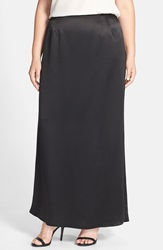 Alex Evenings Long Satin Fishtail Skirt Plus Size Black