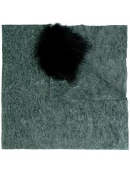 Cutuli Cult Possum Fur Panel Tweed Shawl Green