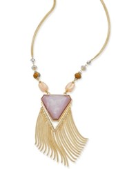 Inc International Concepts Gold Tone Large Triangle Stone Beaded Fringe Statement Necklace Only At Macy's
