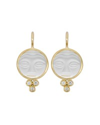 Temple St. Clair 18K Yellow Gold Moonface Earrings With Rock Crystal And Diamond Granulation White Gold