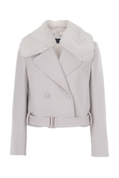 French Connection Platform Faux Fur Wool Jacket Cream