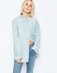 Weekday Clean Wash Denim Shirt Blue