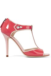 Fendi By The Way Embellished Patent Leather Sandals Orange