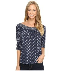 Lucky Brand Disty Off The Shoulder Top Blue Multi Women's Clothing