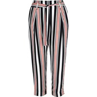 River Island Womens White Stripe Cropped Trousers