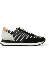 Loeffler Randall Rio Perforated Leather Suede And Canvas Sneakers Black
