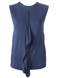 Kai Aakmann Draped Detail T Shirt Blue