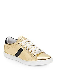 Alessandro Dell'acqua Metallic Lace Up Sneakers Gold