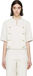 J.W.Anderson Beige Striped Gold Button Top