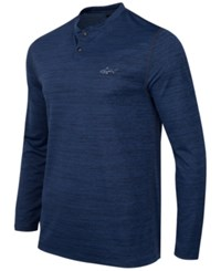 Greg Norman For Tasso Elba Men's Performance Space Dyed Henley Only At Macy's Blue Socket