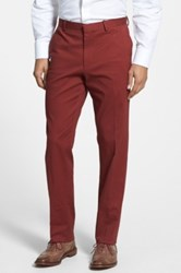 Wallin And Bros 'Bedford' Flat Front Stretch Cotton Trousers Red