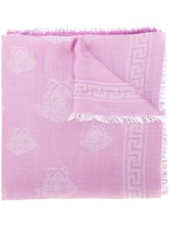 Versace Medusa Pattern Scarf Pink And Purple