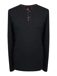 Pretty Green Long Sleeve Turner Placket Grandad Dark Brown