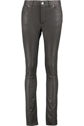 Acne Studios Close Stretch Leather Skinny Pants Gray