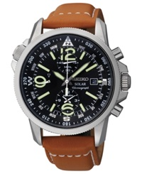 Seiko Watch Men's Chronograph Solar Tan Leather Strap 42Mm Ssc081