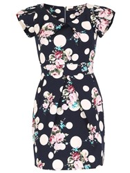 Tenki Flower And Polka Dot Print Bodycon Dress Blue