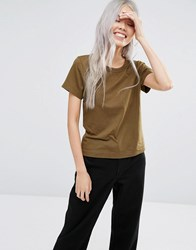 Weekday Scoop T Shirt Khaki Green