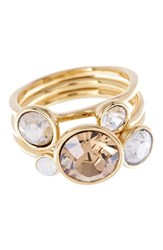 Women's Ted Baker London 'Jackie' Crystal Stacking Rings Gold Multi Set Of 3