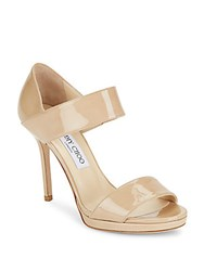 Jimmy Choo Leather Wide Strap Sandals Nude