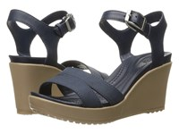 Crocs Leigh Ii Ankle Strap Wedge Navy Women's Wedge Shoes