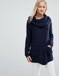Qed London Cowl Neck Chunky Knit Jumper Navy