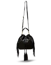 Brian Atwood Ella Black Leather Drawstring Bag