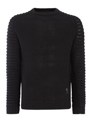 Religion Men's Chunky Ribbed Sleeve Jumper Black