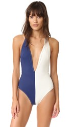 Solid And Striped The Willow Plunge Neck One Piece Cream Navy