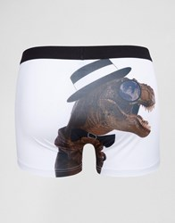 Asos Trunks With Gentleman Dinosaur Print In Microfibre White