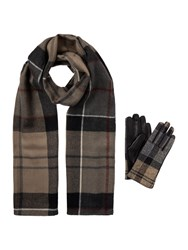 Barbour Tartan Long Scarf And Glove Gift Set Grey