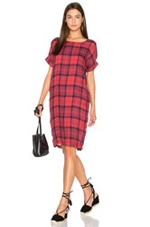 Stateside Chambray Plaid Shirting Tee Dress Red