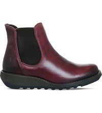 Fly London Salv Leather Wedge Boots Purple Rug