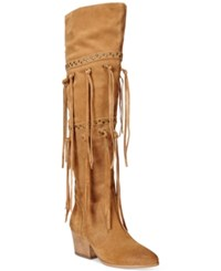 Dolce By Mojo Moxy Toreador Over The Knee Fringe Boots Women's Shoes Natural