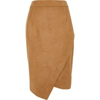 River Island Womens Camel Faux Suede Wrap Pencil Skirt