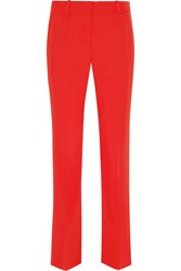Givenchy Cropped Straight Leg Pants In Red Grain De Poudre Wool