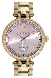 Ted Baker Crystal Bezel Bracelet Watch 36Mm Hamilton Gold Pink