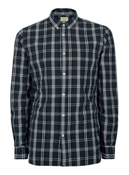 Selected Blue Homme Navy And Grey Check Button Down Shirt