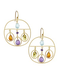 Nanis Open Circle Blue Topaz And Mixed Stone Dangle Earrings