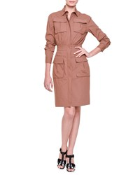 Bottega Veneta Four Pocket Zip Front Shirtdress Beige New Cigar
